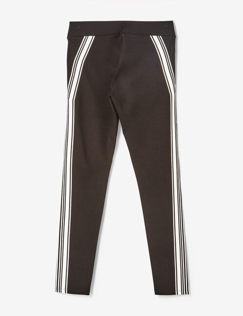 Black and cream leggings with stripe detail