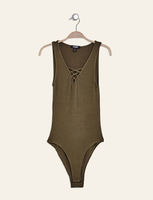Khaki ribbed bodysuit with lacing detail