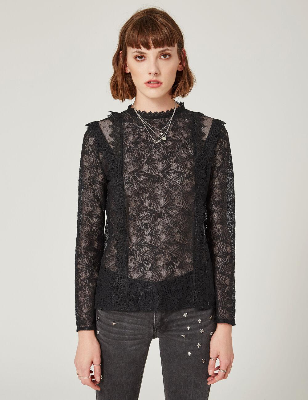 blouse en dentelle noire femme jennyfer. Black Bedroom Furniture Sets. Home Design Ideas