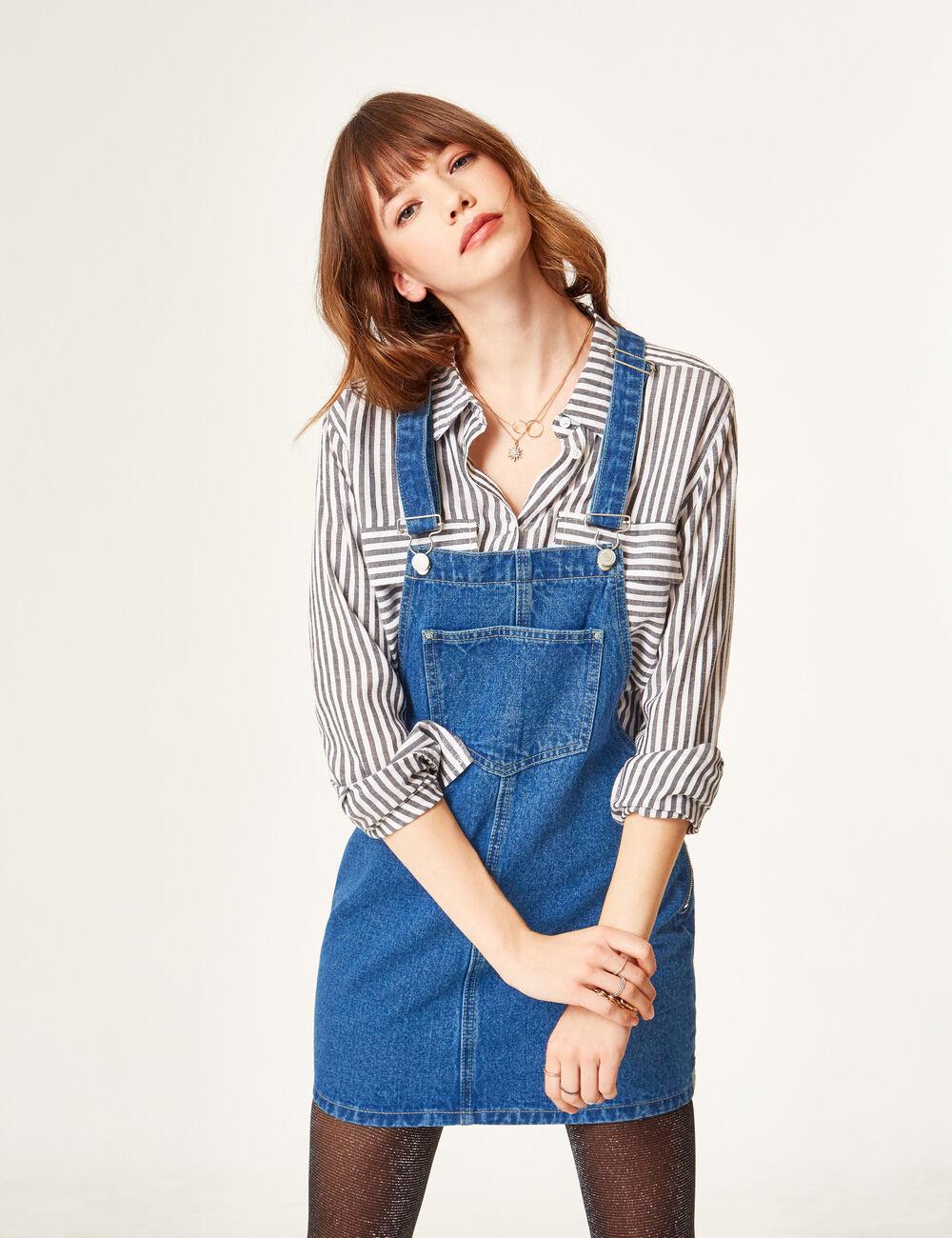 salopette robe en jean medium blue