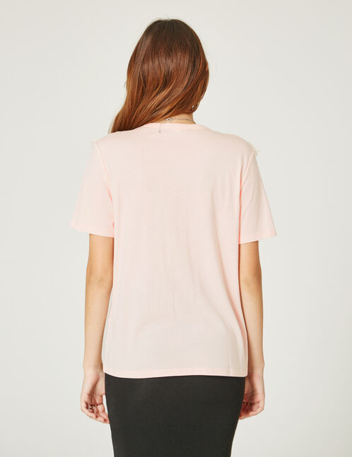 Light pink T-shirt with lace detail