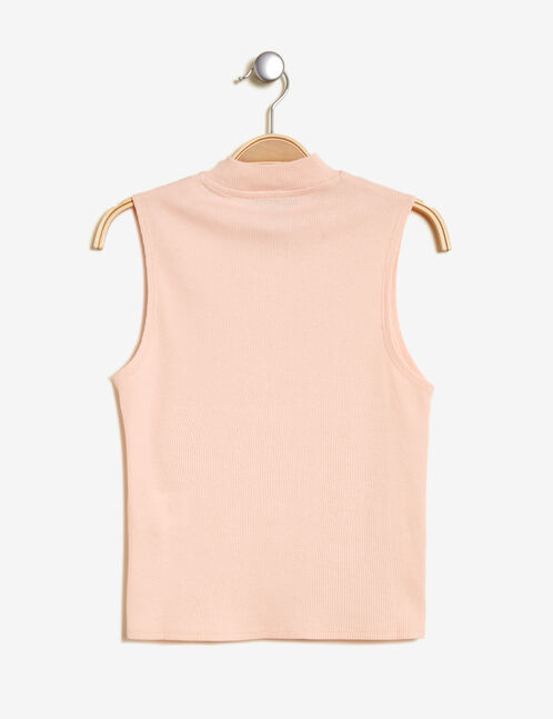 Short light pink high-neck tank top