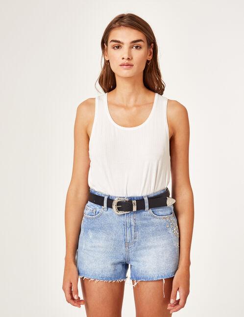 short en jean avec clous medium blue