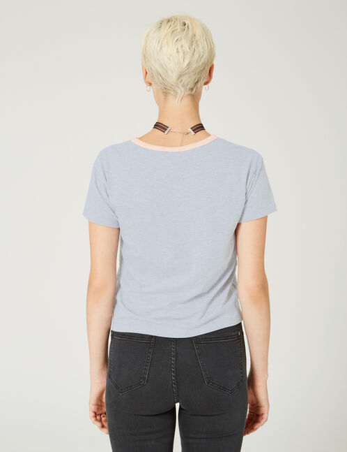 Grey marl top with patch and text design details