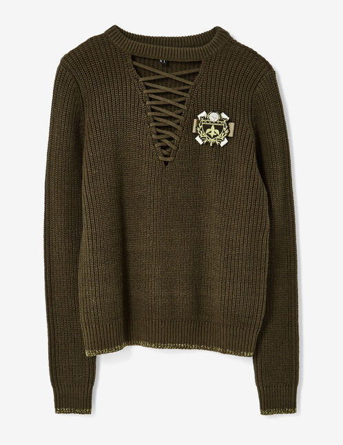 Khaki jumper with lacing detail