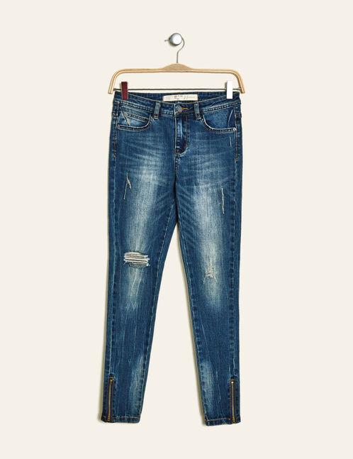 Denim blue distressed super skinny jeans