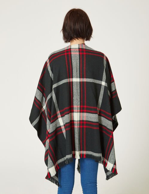 Black, red and cream checked cape
