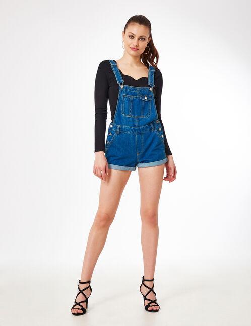 salopette short en jean medium blue