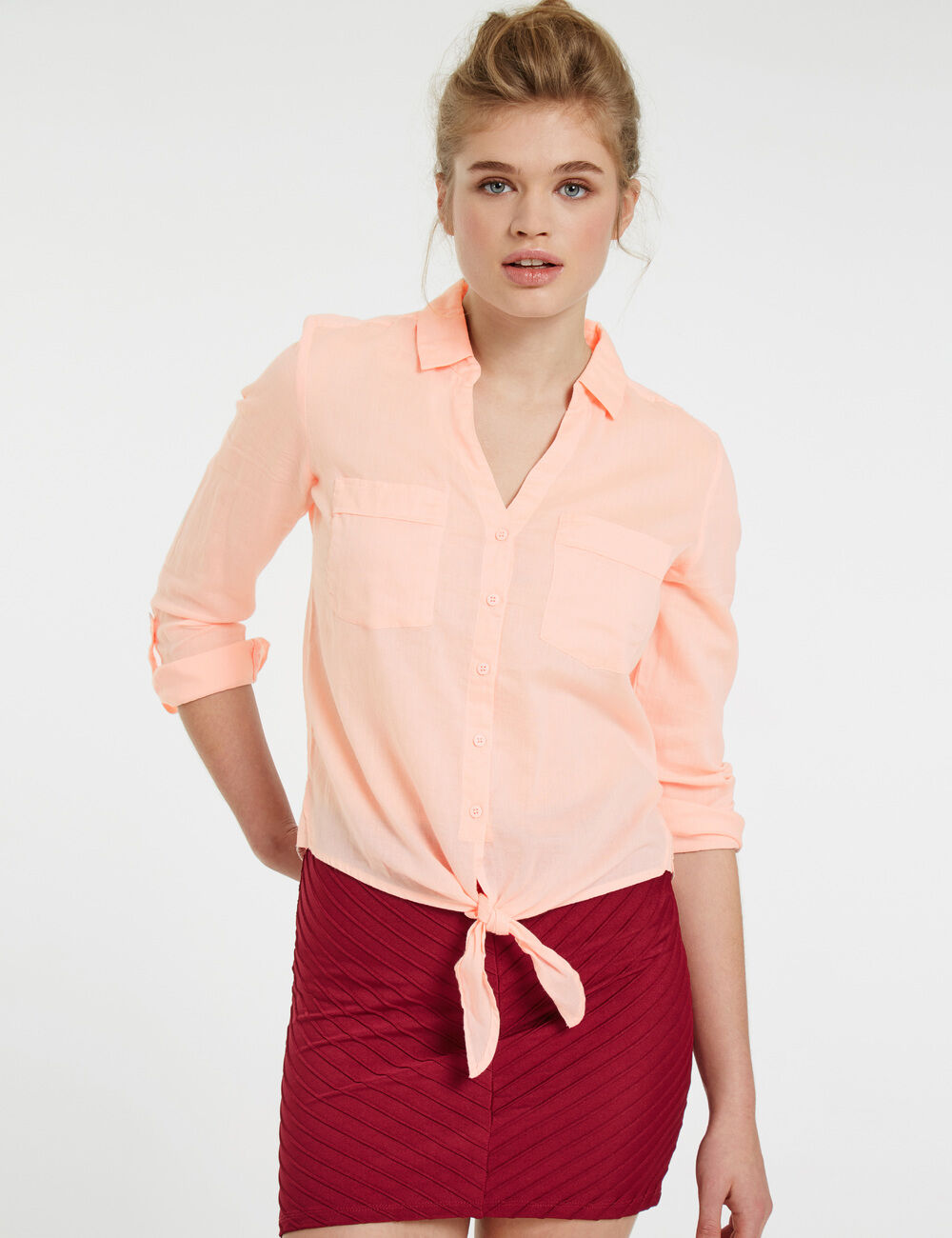 chemise en coton nouer rose clair femme jennyfer. Black Bedroom Furniture Sets. Home Design Ideas