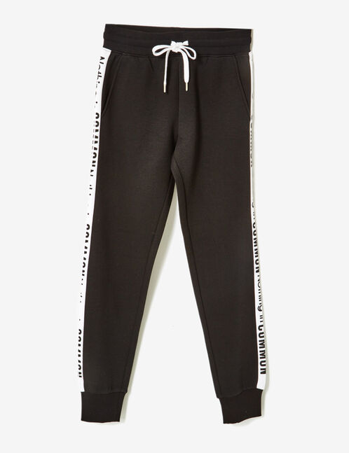 Black joggers with text design detail