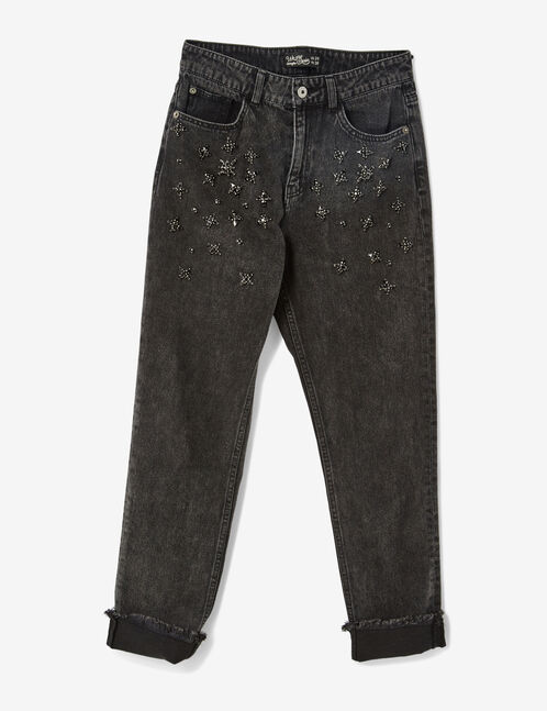 Black mom jeans with rhinestone detail