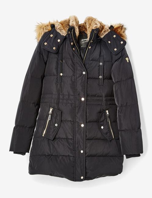 Long navy blue padded jacket