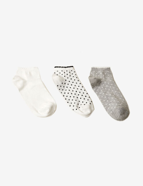 White and grey patterned socks