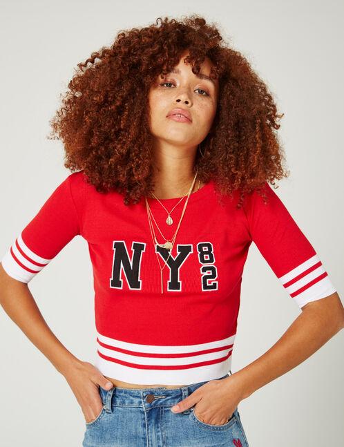 """Red """"NY 82"""" T-shirt"""