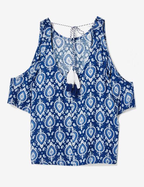 Navy blue cold shoulder blouse
