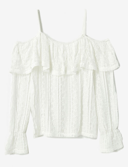 Cream T-shirt with hemstitched shoulders