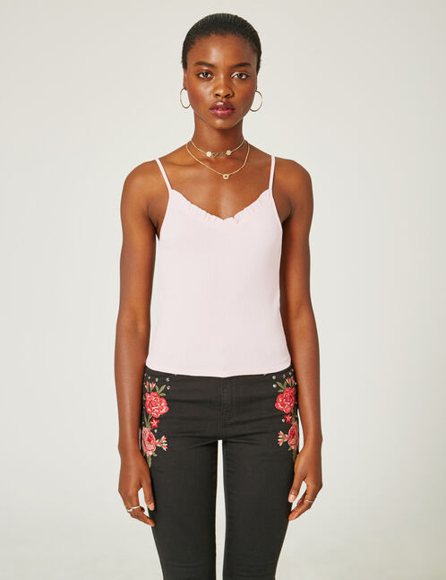 Light pink tank top with frill detail