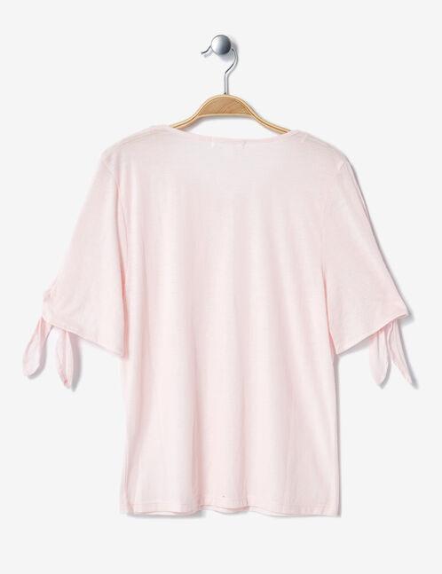 tee-shirt manches à nouer rose clair