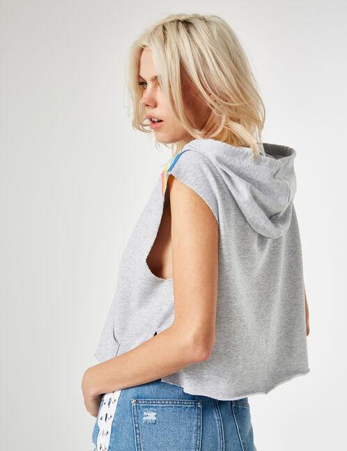 Grey marl sleeveless sweatshirt