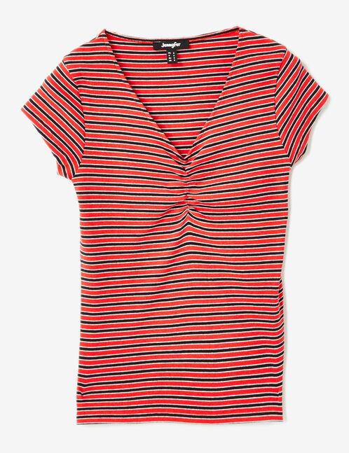 tee shirt col v et fronces ray rouge noir et blanc femme. Black Bedroom Furniture Sets. Home Design Ideas