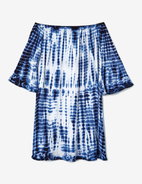 robe épaules dénudées tie-dye blanc et bleu