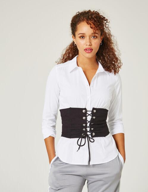 chemise basic cintr blanche femme jennyfer. Black Bedroom Furniture Sets. Home Design Ideas