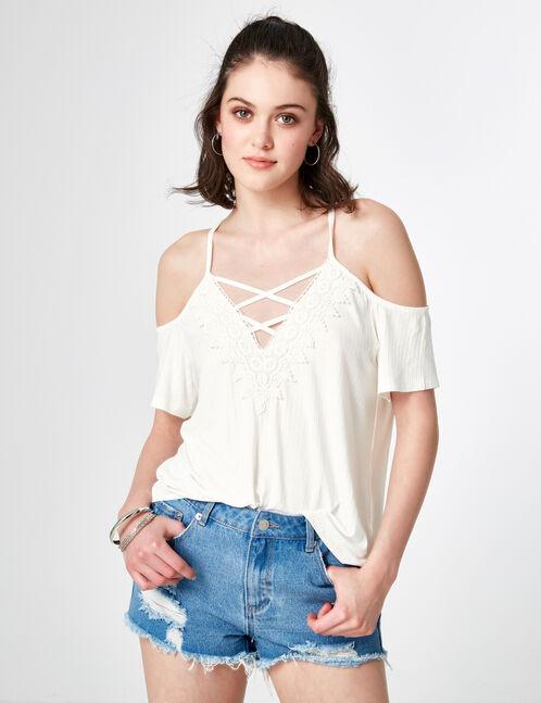 tee-shirt avec macramé écru