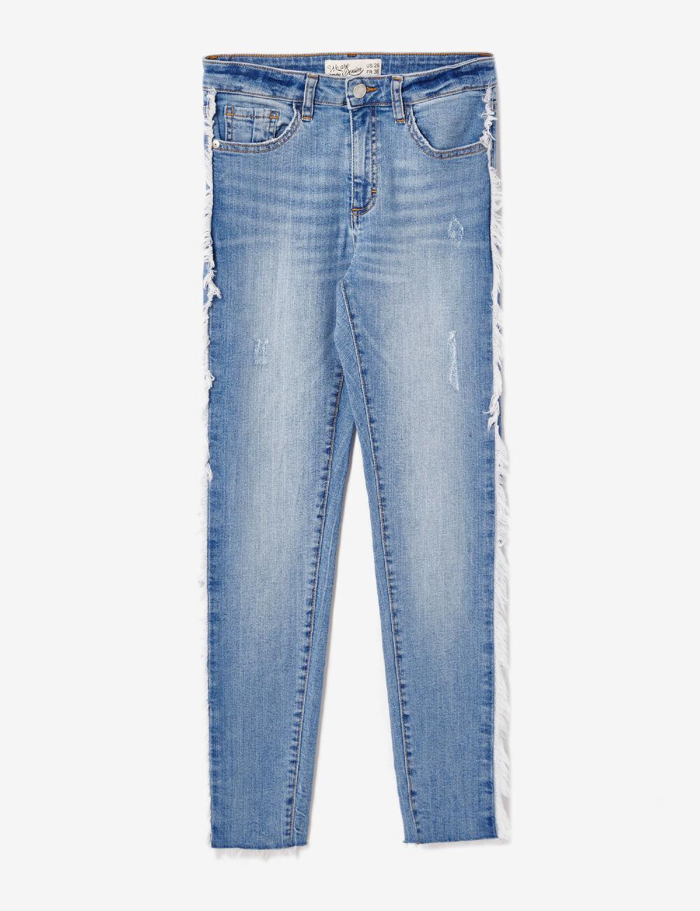 jean avec franges bleu clair femme jennyfer. Black Bedroom Furniture Sets. Home Design Ideas