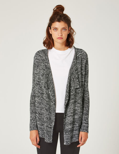 White and black textured open cardigan