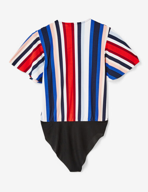 Blue, cream, pink and red striped wrap bodysuit