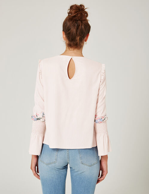 Light pink and cream striped embroidered blouse