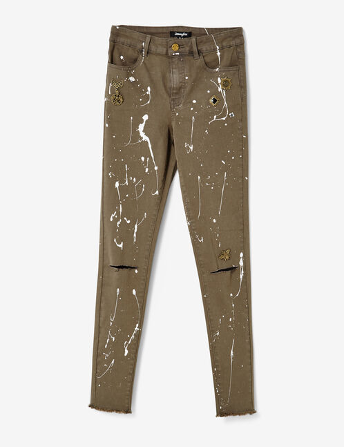Khaki skinny trousers with charm detail