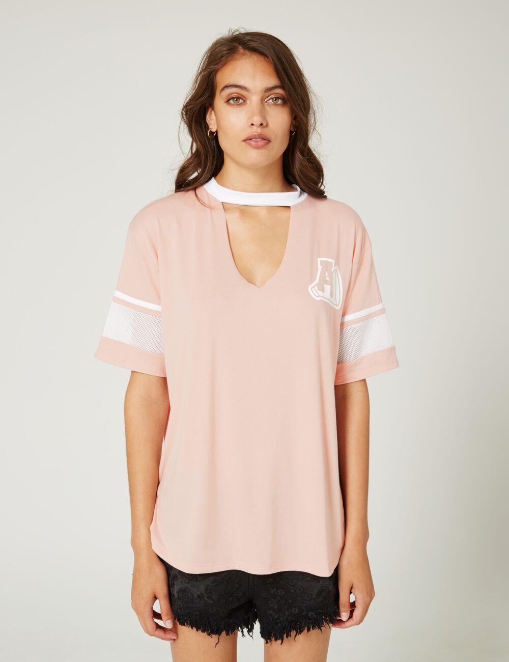 tee shirt avec ouverture rose clair et blanc femme jennyfer. Black Bedroom Furniture Sets. Home Design Ideas