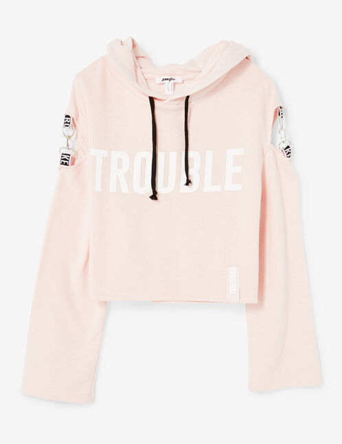 "Light pink ""trouble maker"" hoodie"