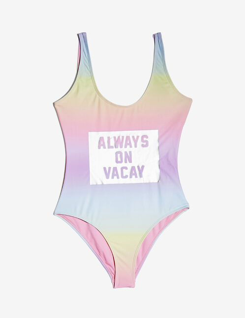 maillot de bain à message multicolore