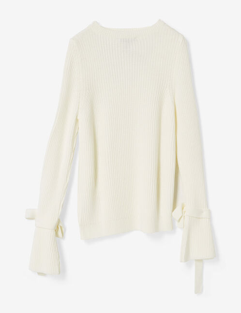 Cream jumper with tied sleeve detail