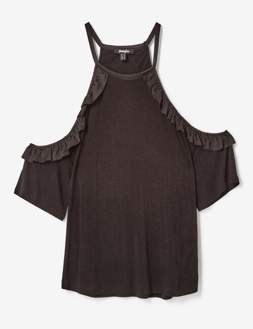 tee-shirt avec volants noir