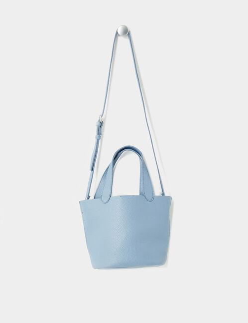 Light blue handbag with shoulder strap