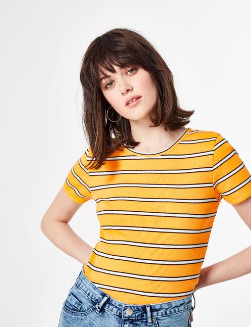 tee-shirt rayé orange clair