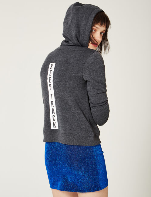 "Charcoal grey marl ""keep track"" print hoodie"
