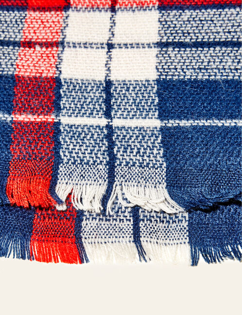 Navy blue, beige and red checked scarf