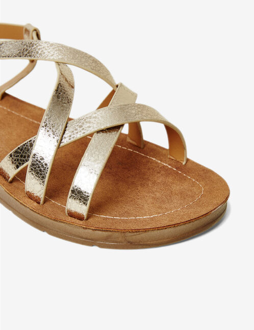 Gold strappy flat sandals