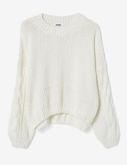 White loose-fit chenille jumper