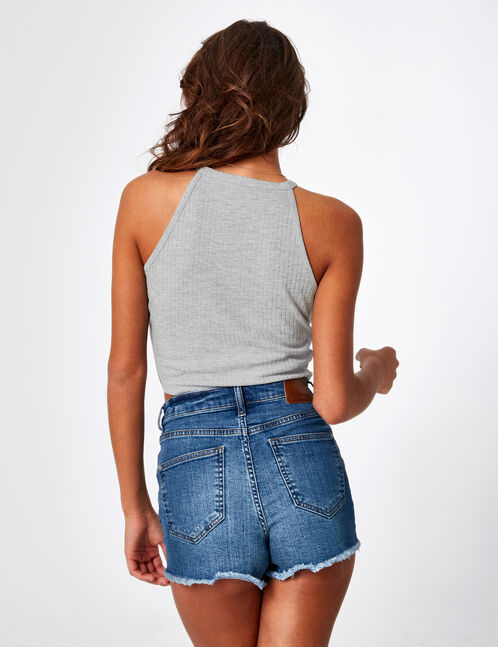 Grey marl crop top with ring detail