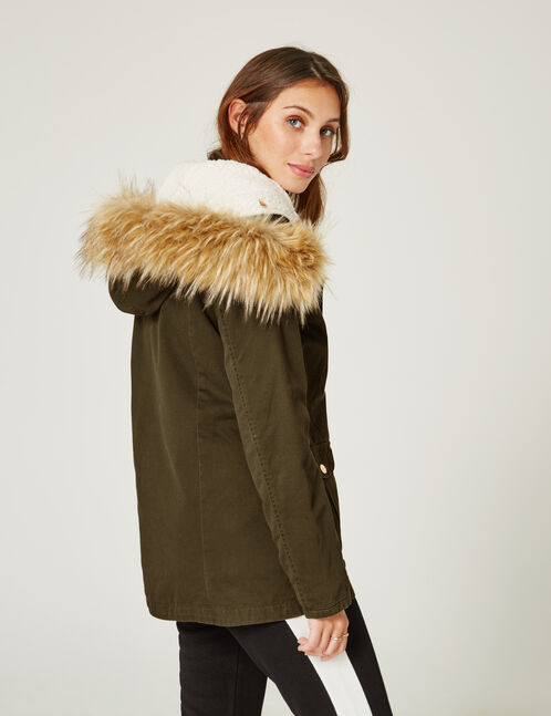 Khaki parka with detachable lining