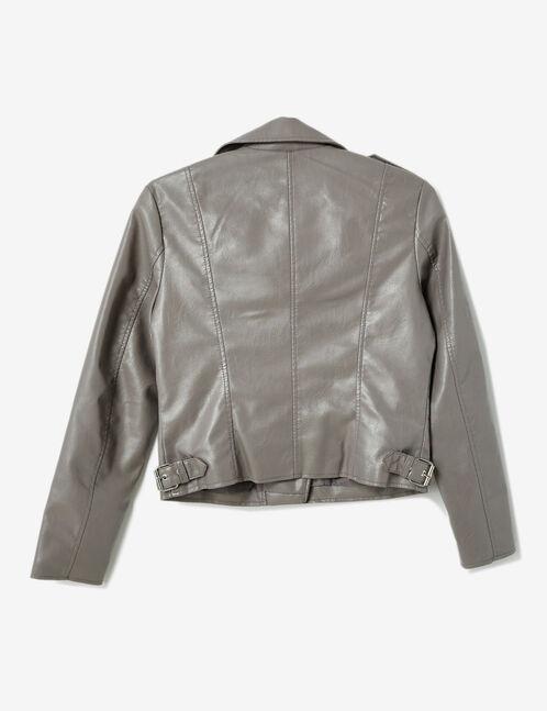 veste biker zip déco gris