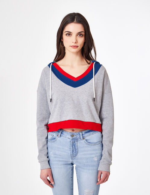 Grey marl tricolour hoodie