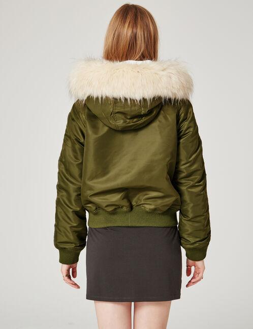 Khaki hooded bomber jacket