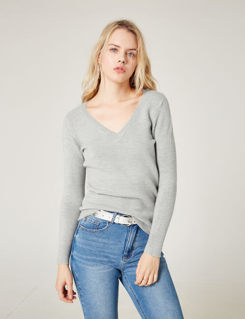Grey marl cashmere-feel jumper