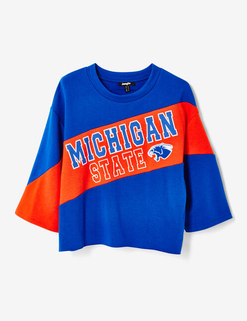 """Red and blue two-tone """"Michigan"""" sweatshirt"""
